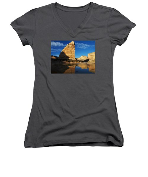 Steamboat Rock In Dinosaur National Monument Women's V-Neck