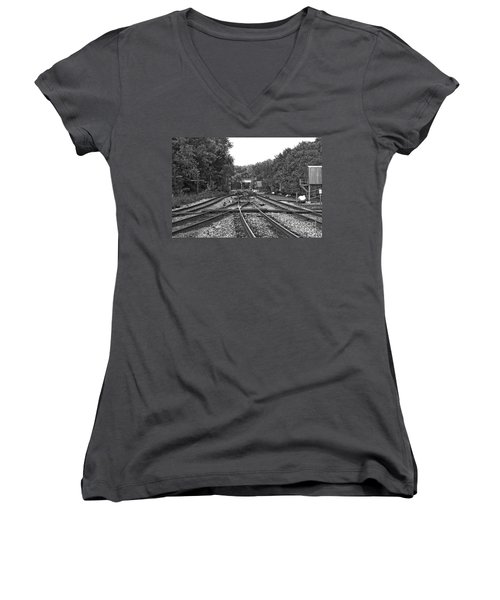 Steel Rail Intersections.   Point Of Rocks Md Women's V-Neck