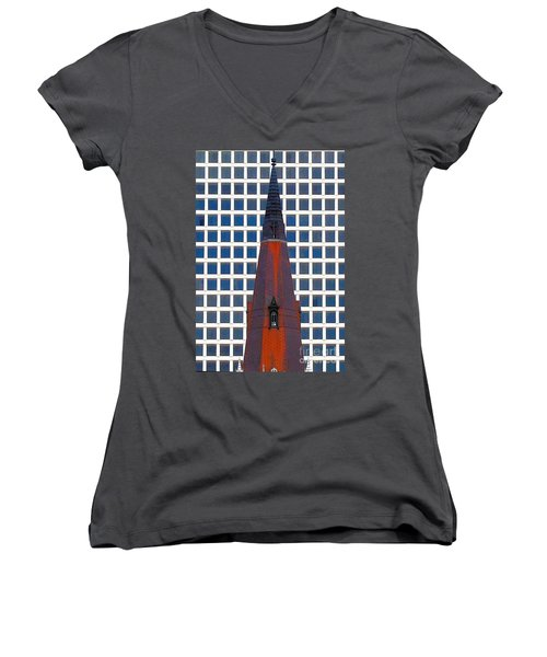 Women's V-Neck T-Shirt (Junior Cut) featuring the photograph Steeple And Office Building by Janette Boyd