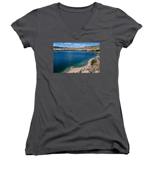 Women's V-Neck T-Shirt (Junior Cut) featuring the photograph Steinacker Reservoir Utah by Janice Rae Pariza