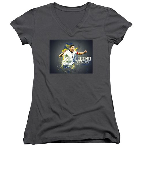 Steven Gerrard Women's V-Neck T-Shirt (Junior Cut) by Taylan Apukovska