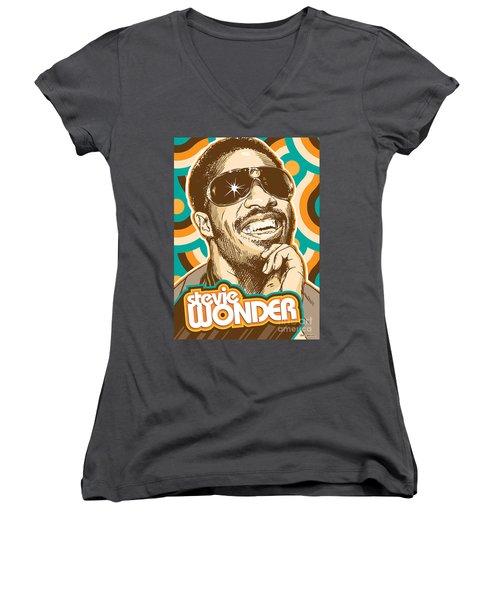 Stevie Wonder Pop Art Women's V-Neck T-Shirt
