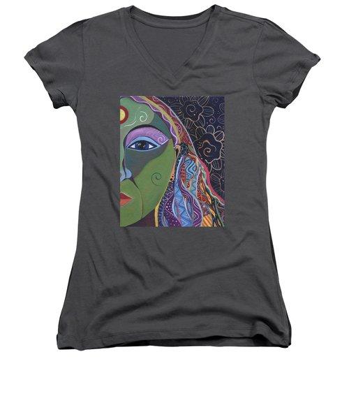 Still A Mystery 5 Women's V-Neck T-Shirt (Junior Cut) by Helena Tiainen