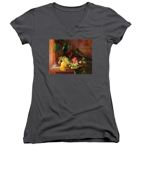 Still Life With Grapes And Grapevine Women's V-Neck (Athletic Fit)