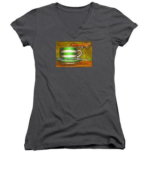 Women's V-Neck T-Shirt (Junior Cut) featuring the painting Still Life With Green Stripes And Saddle  by Mark Howard Jones