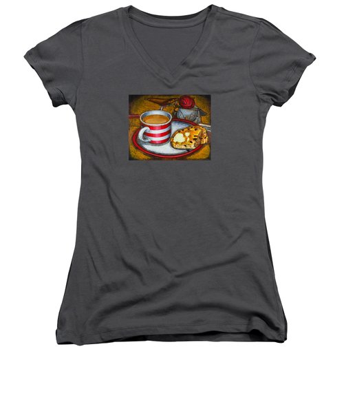 Women's V-Neck T-Shirt (Junior Cut) featuring the painting Still Life With Red Touring Bike by Mark Howard Jones