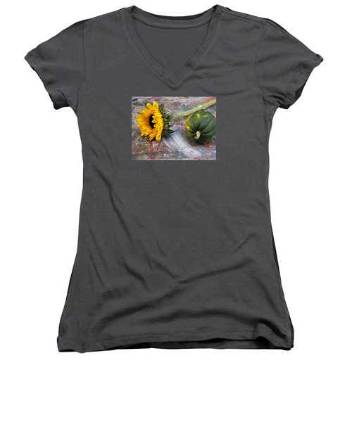 Still Life With Sunflower Women's V-Neck (Athletic Fit)