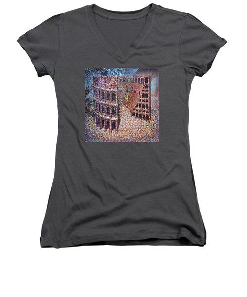 Still Stadium Women's V-Neck T-Shirt (Junior Cut) by Mark Jones