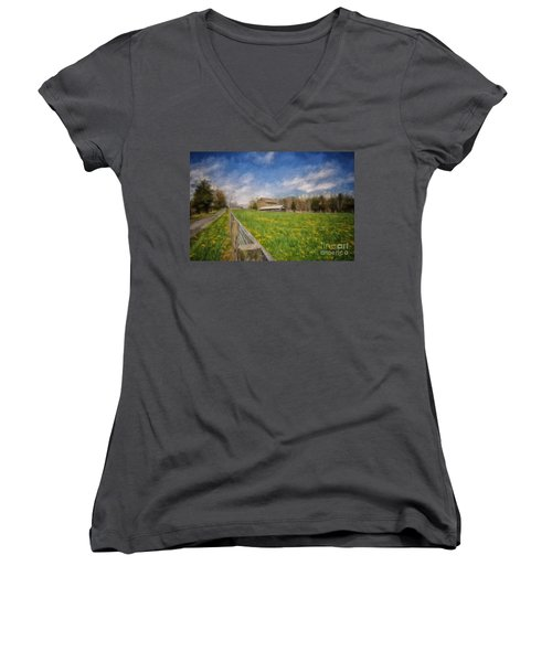 Women's V-Neck T-Shirt (Junior Cut) featuring the photograph Stone Barn On A Spring Morning by Lois Bryan