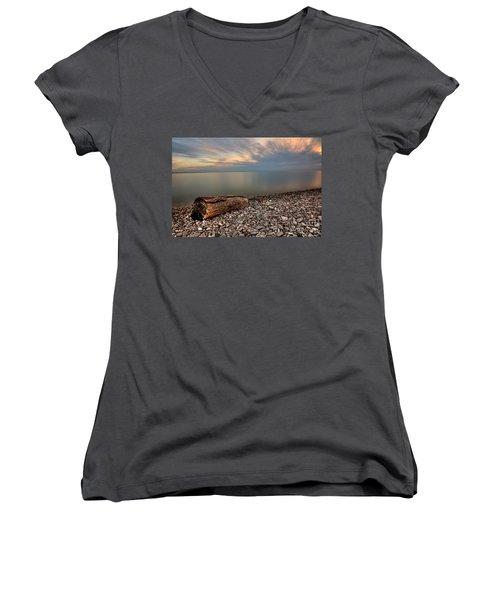 Stone Beach Women's V-Neck T-Shirt (Junior Cut) by James Dean