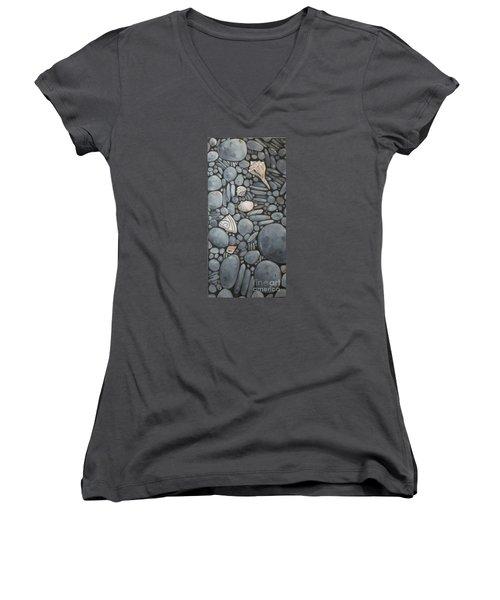 Stone Beach Keepsake Rocky Beach Shells And Stones Women's V-Neck T-Shirt (Junior Cut) by Mary Hubley