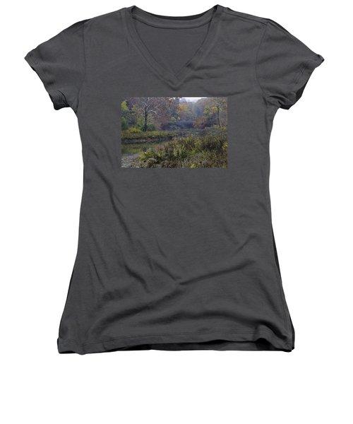 Stone Bridge In Autumn I Women's V-Neck T-Shirt