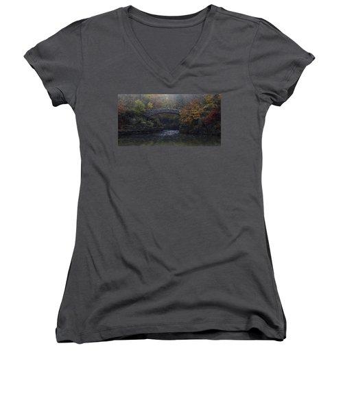 Stone Bridge In Autumn II Women's V-Neck T-Shirt