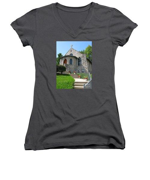 Stone Church Women's V-Neck T-Shirt (Junior Cut) by Ann Horn
