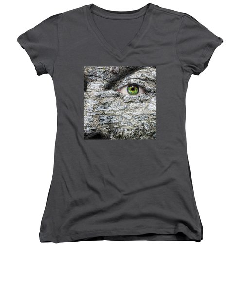 Stone Face Women's V-Neck T-Shirt (Junior Cut) by Semmick Photo