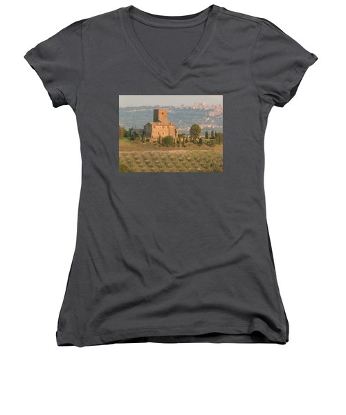 Women's V-Neck T-Shirt (Junior Cut) featuring the photograph Stone Farmhouse by Marcia Socolik