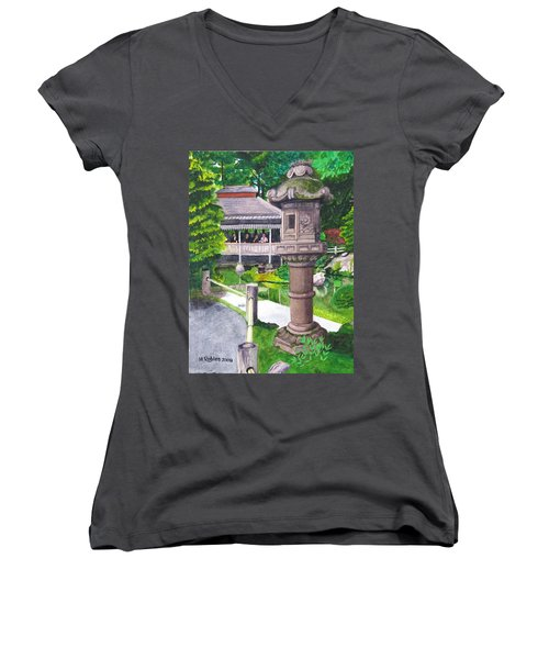 Stone Lantern Women's V-Neck T-Shirt (Junior Cut) by Mike Robles