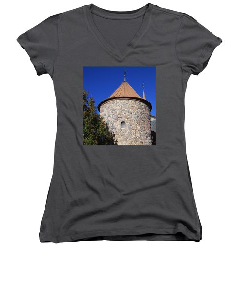 Stone Tower Women's V-Neck T-Shirt (Junior Cut) by Chris Thomas