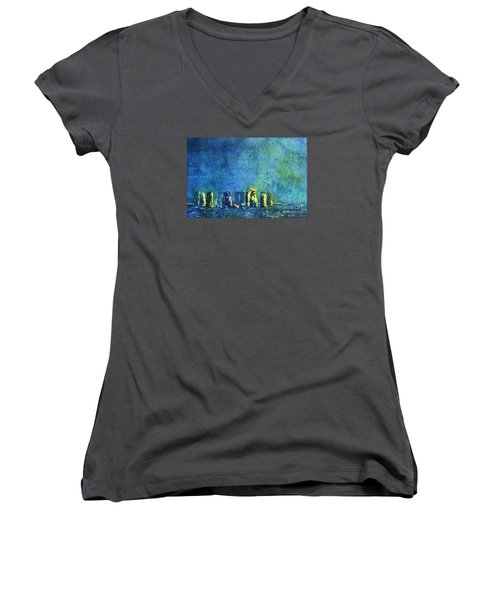 Stonehenge In Moonlight Women's V-Neck T-Shirt (Junior Cut) by Ryan Fox