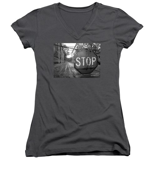 Stop Sign Women's V-Neck T-Shirt (Junior Cut) by Michael Krek