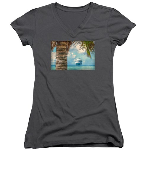 Stopover In Paradise Women's V-Neck T-Shirt (Junior Cut) by Hanny Heim
