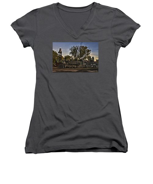 Women's V-Neck T-Shirt (Junior Cut) featuring the photograph Stopped At Chama by Priscilla Burgers