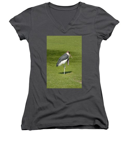Women's V-Neck T-Shirt (Junior Cut) featuring the photograph Stork by Charles Beeler