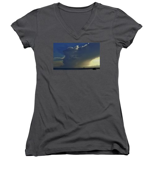Women's V-Neck T-Shirt (Junior Cut) featuring the photograph Storm Across Delaware Bay by Ed Sweeney