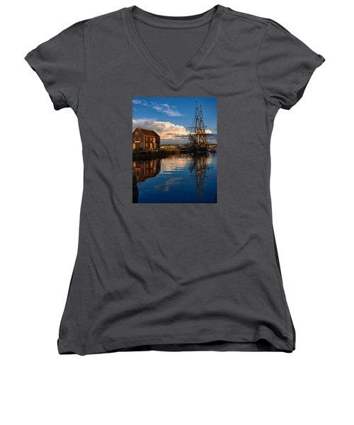 Storm Clearing Friendship Women's V-Neck T-Shirt (Junior Cut) by Jeff Folger