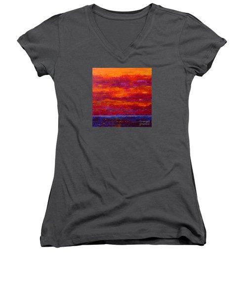 Storm Clouds Sunset Women's V-Neck T-Shirt (Junior Cut) by Gail Kent