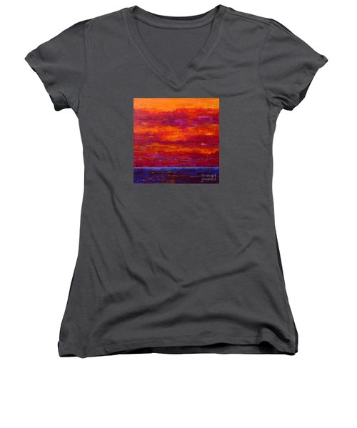 Storm Clouds Sunset Women's V-Neck (Athletic Fit)