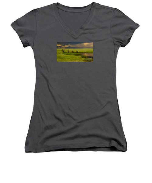 Storm Crossing Prairie 1 Women's V-Neck T-Shirt (Junior Cut) by Robert Frederick