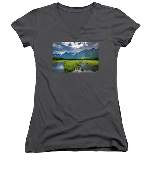 Storm Over The Mountains Women's V-Neck T-Shirt (Junior Cut) by Andrew Matwijec