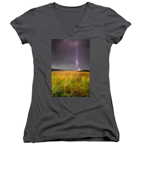 Storm Over The Wheat Fields Women's V-Neck (Athletic Fit)