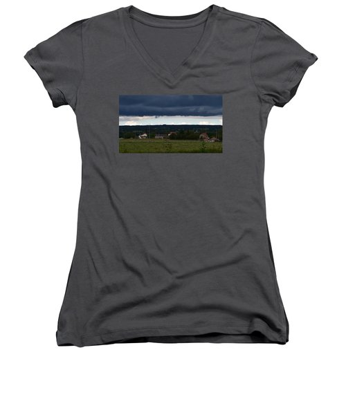 Stormy Countryside Women's V-Neck (Athletic Fit)
