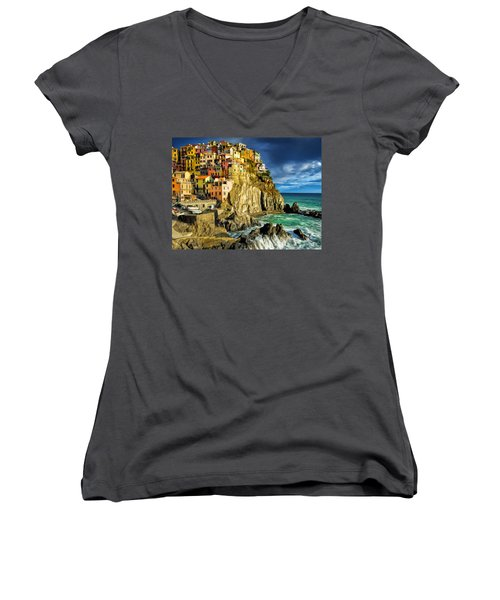 Stormy Day In Manarola - Cinque Terre Women's V-Neck