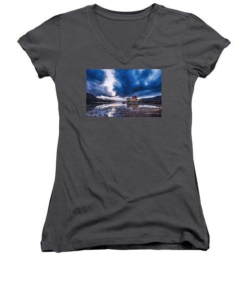 Stormy Skies Over Eilean Donan Castle Women's V-Neck T-Shirt