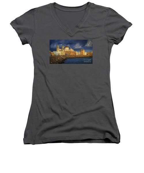 Stormy Skies Over The Cathedral Cadiz Spain Women's V-Neck (Athletic Fit)