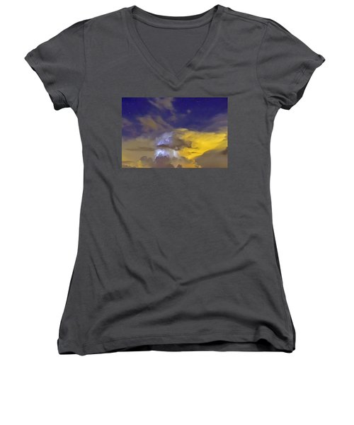 Women's V-Neck T-Shirt (Junior Cut) featuring the photograph Stormy Stormy Night by Charlotte Schafer