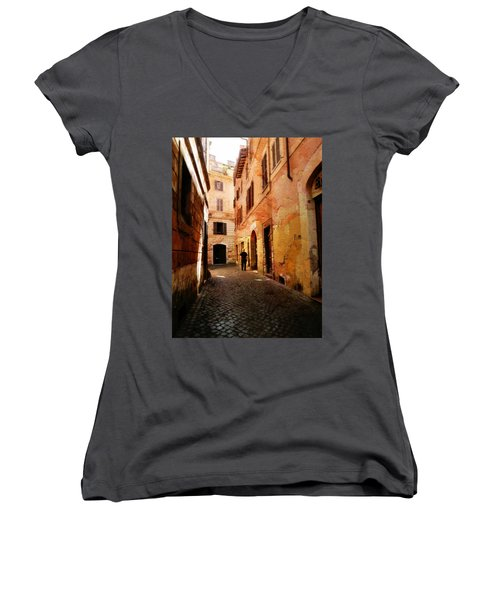 Women's V-Neck T-Shirt (Junior Cut) featuring the photograph Strade Di Ciottoli by Micki Findlay