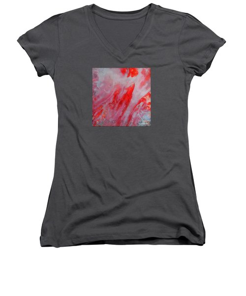 Women's V-Neck T-Shirt (Junior Cut) featuring the painting Strawberry Ice Cream by Dragica  Micki Fortuna