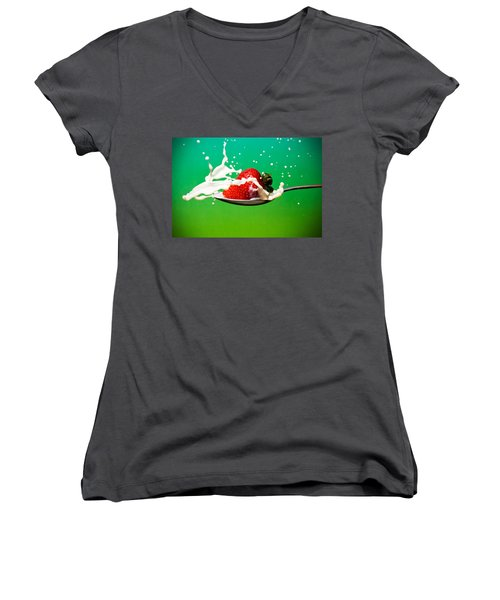 Strawberry Milk Women's V-Neck T-Shirt