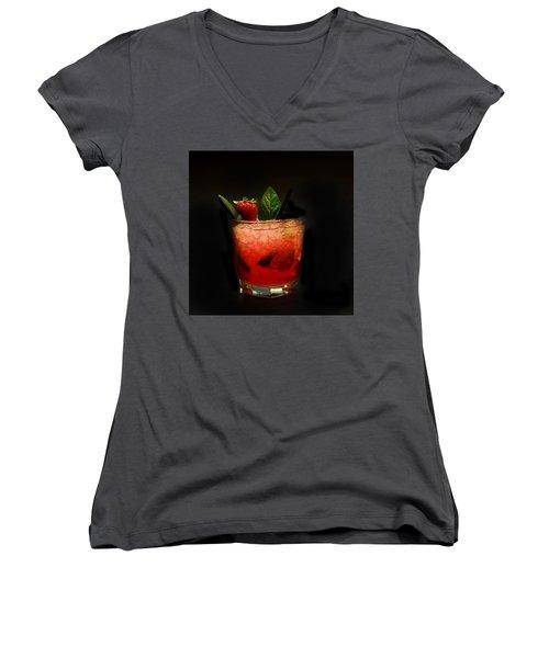 Strawberry Mojito Women's V-Neck T-Shirt (Junior Cut) by Gina Dsgn