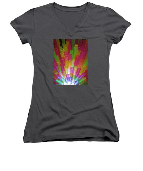 Women's V-Neck T-Shirt (Junior Cut) featuring the photograph Straws II by John King
