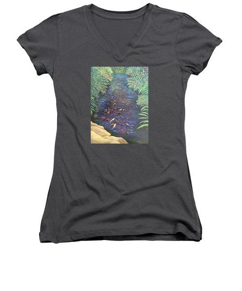 Women's V-Neck featuring the painting Stream Of Koi by Karen Zuk Rosenblatt