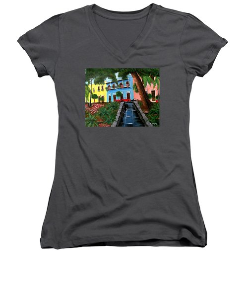 Street Hill In Old San Juan Women's V-Neck T-Shirt (Junior Cut) by Luis F Rodriguez