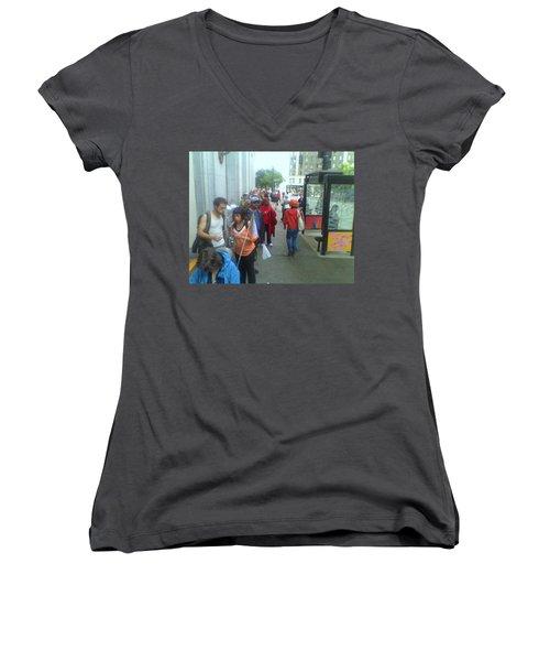 Street Scene Women's V-Neck T-Shirt (Junior Cut) by David Trotter