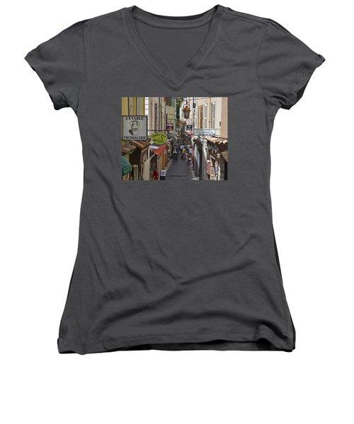 Women's V-Neck T-Shirt (Junior Cut) featuring the photograph Street Scene In Antibes by Allen Sheffield