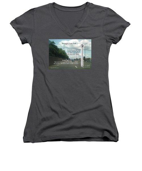 Strength From God Women's V-Neck T-Shirt