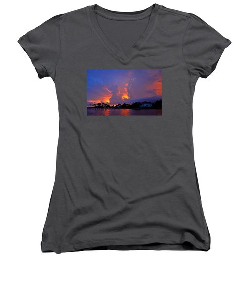 Women's V-Neck T-Shirt (Junior Cut) featuring the photograph Strike Up The Middle At Sunset by Jeff at JSJ Photography